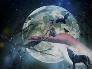 girl-wolf-moon-mystical-sky-night-624983